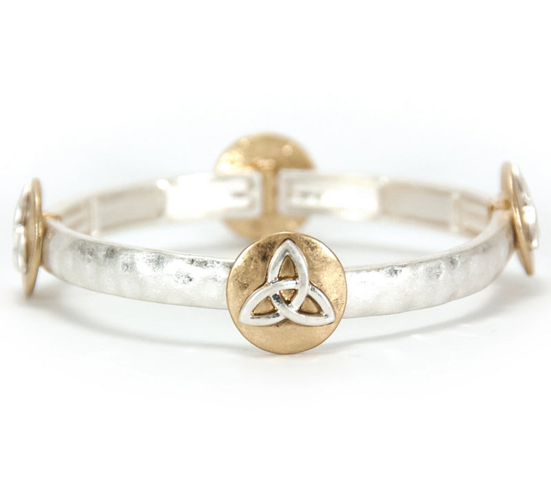 Two-Tone Trinity Knot Stacking Stretch Bracelet