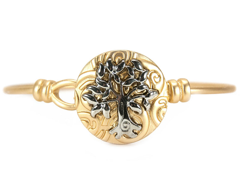 Tree of Life Goldtone Bangle