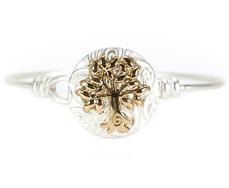 Tree of Life Silvertone Bangle