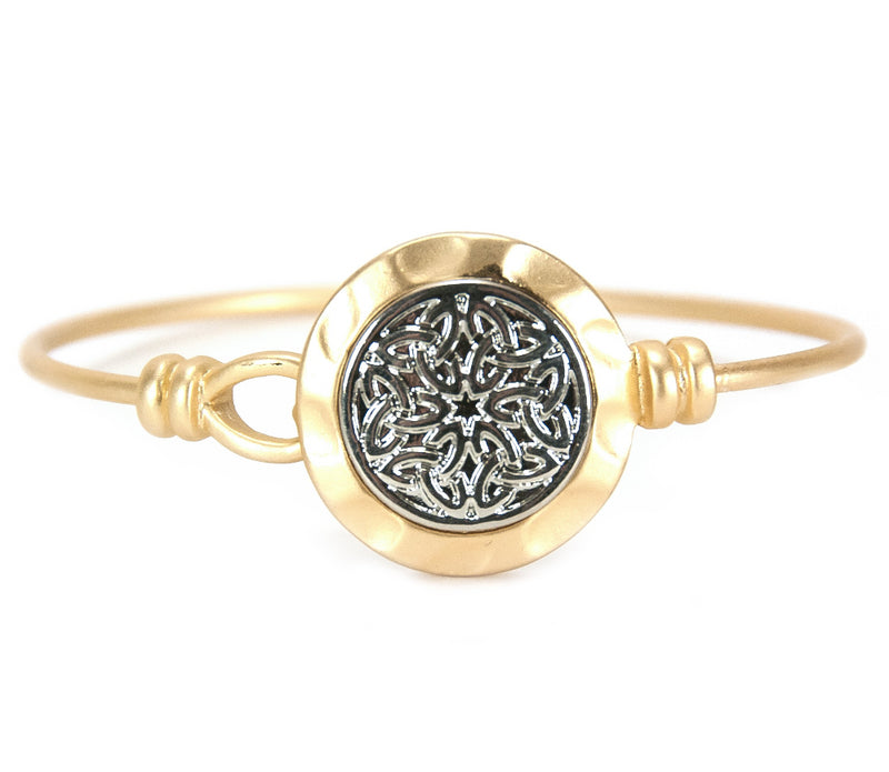 Celtic Knotwork Bangle Silvertone on Goldtone