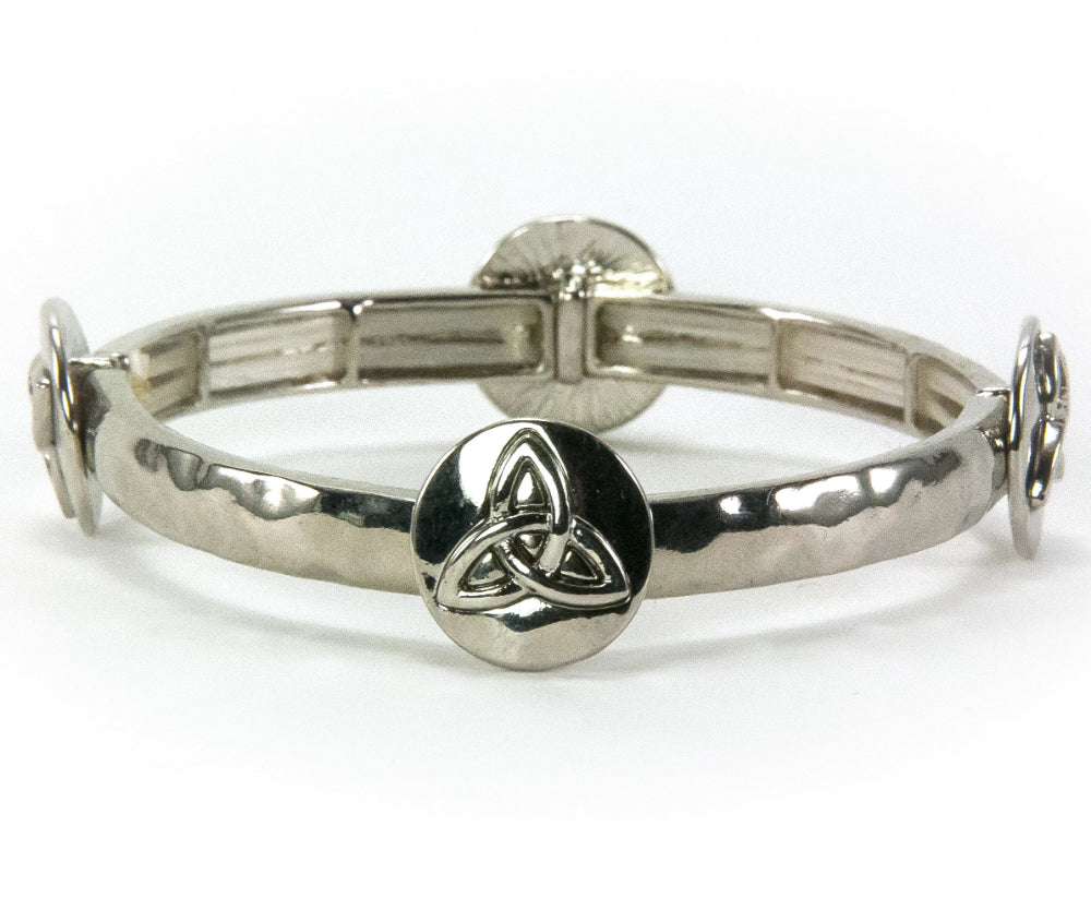 Trinity Knot Stacking Stretch Bracelet - Silvertone