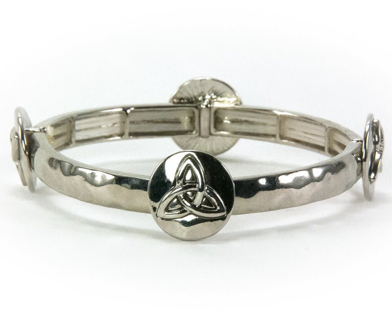 Trinity Knot Stacking Stretch Silvertone Bracelet