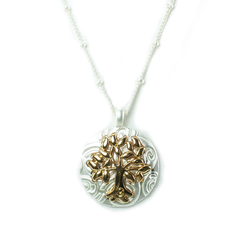 Tree of Life Silvertone Necklace