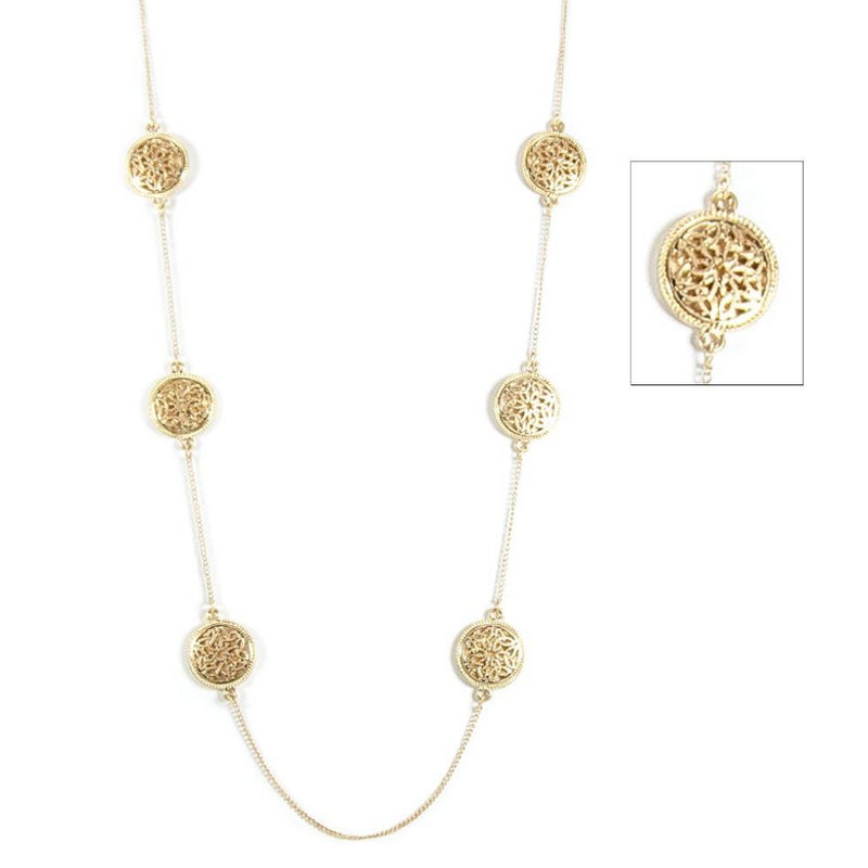 Repeating Trinity Knotwork Medallion Goldtone Necklace