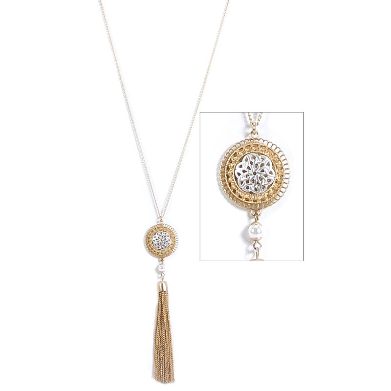 Tassel and Lace-Cut Trinity Knot Pendant Necklace - Silvertone on Goldtone