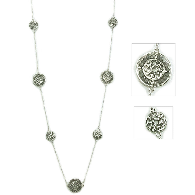 Alternating Beaded Celtic Necklace - Smoky Grey Silvertone