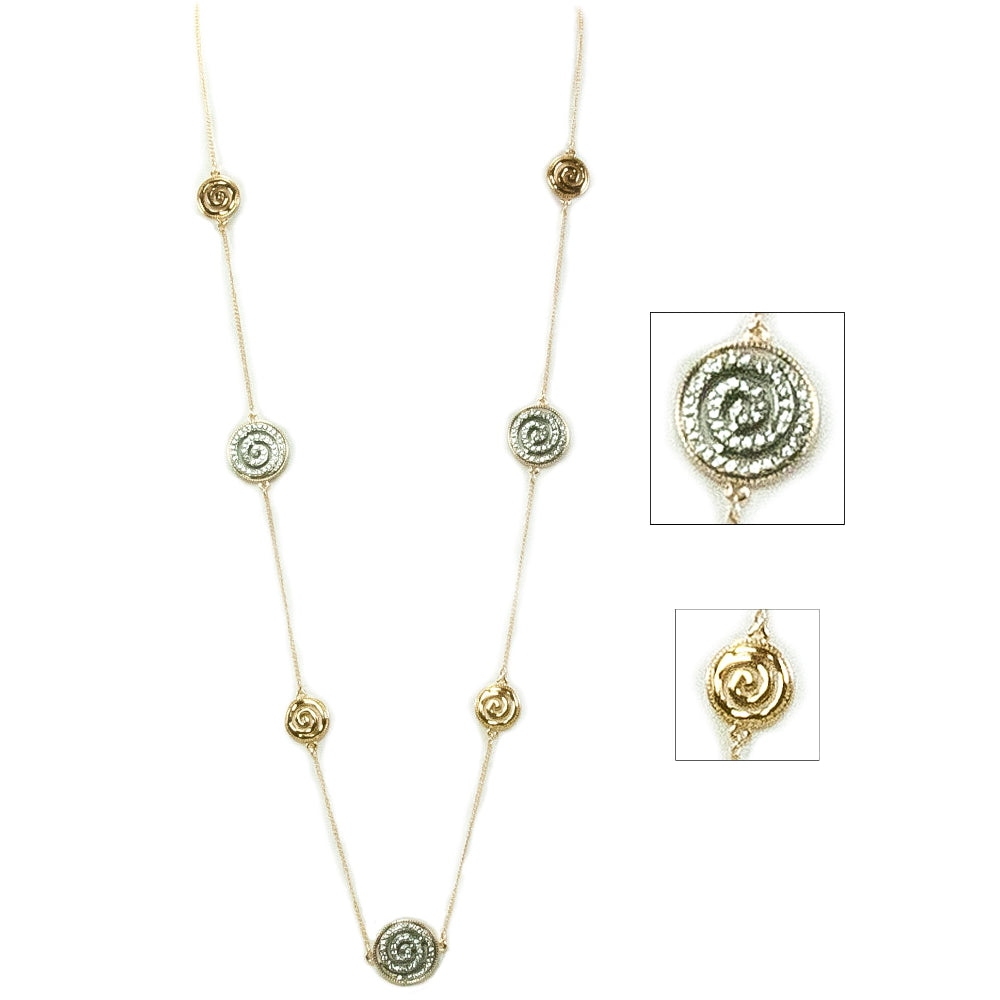 Alternating Bling Celtic Spiral Necklace