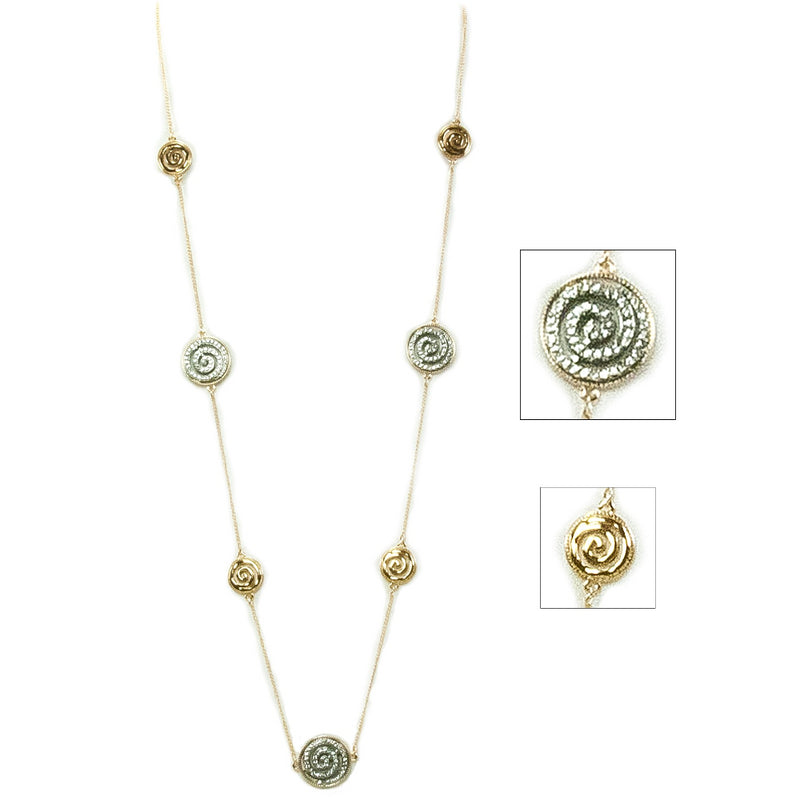 Alternating Bling Celtic Spiral Necklace - Silvertone on Goldtone