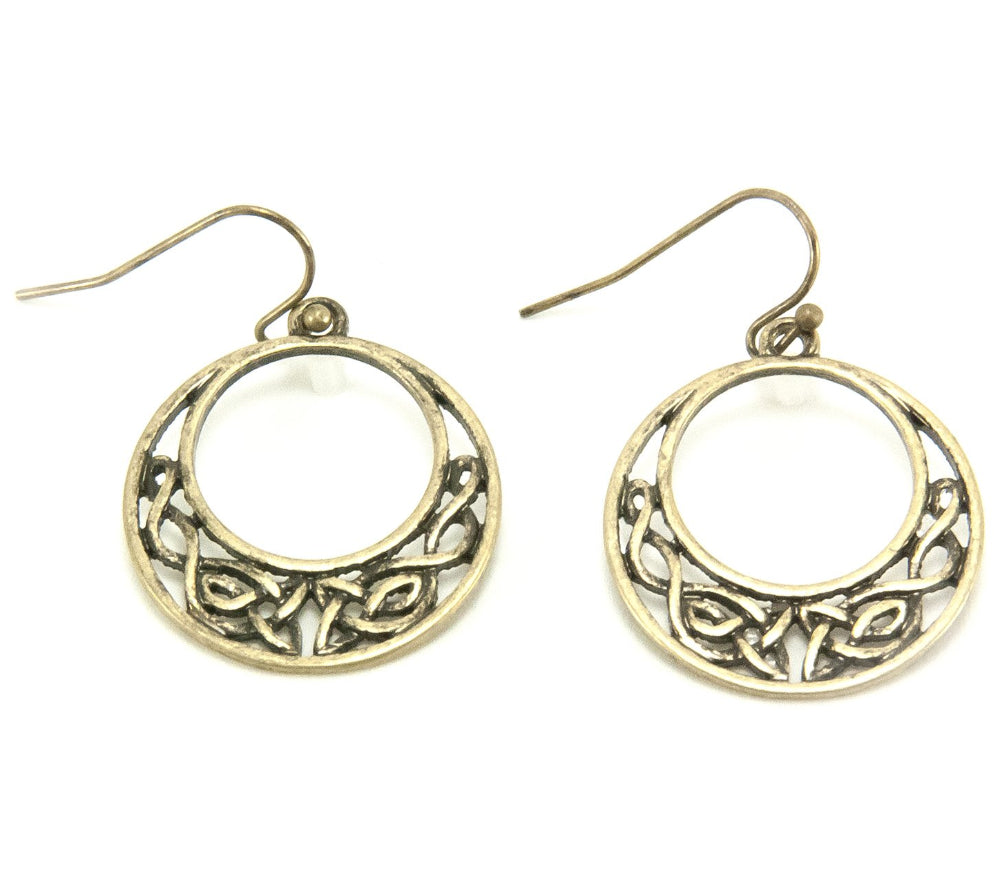 Half Moon Celtic Knot Earrings Goldtone