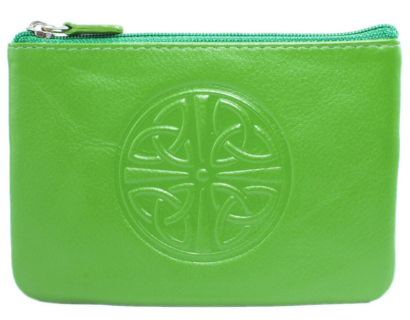 Celtic Leather Coin Purse with RFID Blocking Technology - Emerald