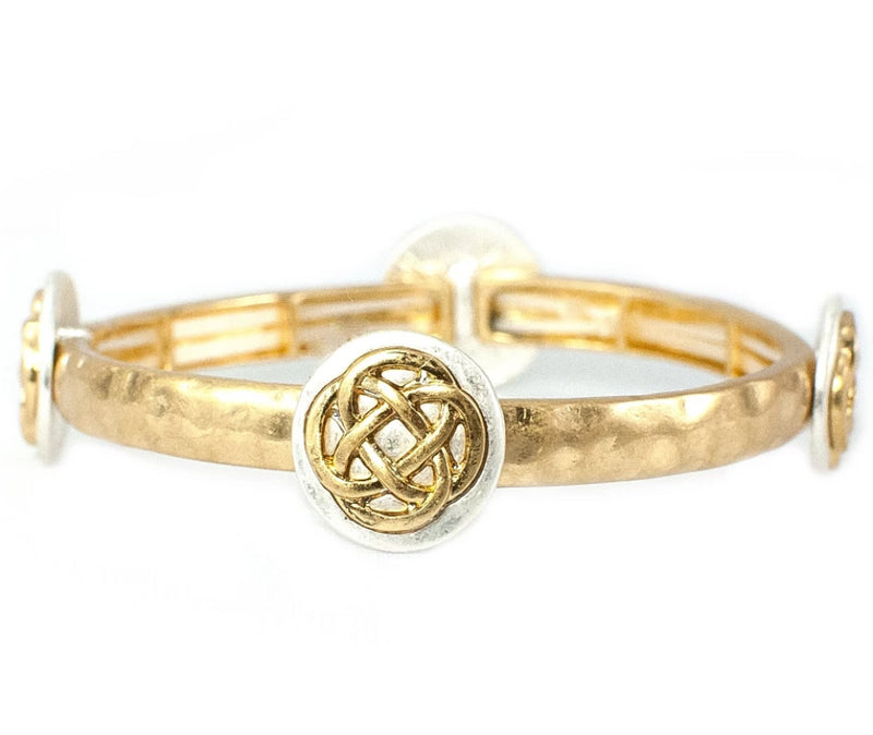 Two-Tone Celtic Knot Stacking Stretch Goldtone Bracelet