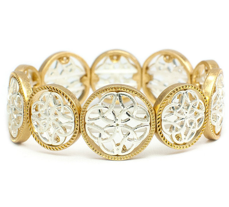 Two-Tone Multi Trinity Circular Stretch Bracelet