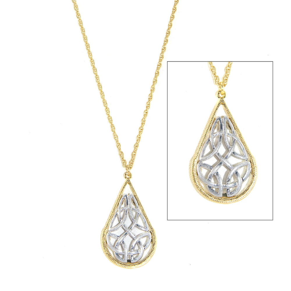 Two-Tone Celtic Tear Drop Necklace Gold with Silver Inset