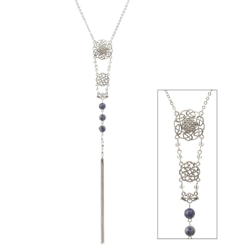 Semi Precious Stone Beads and Tassel Celtic Necklace Silvertone