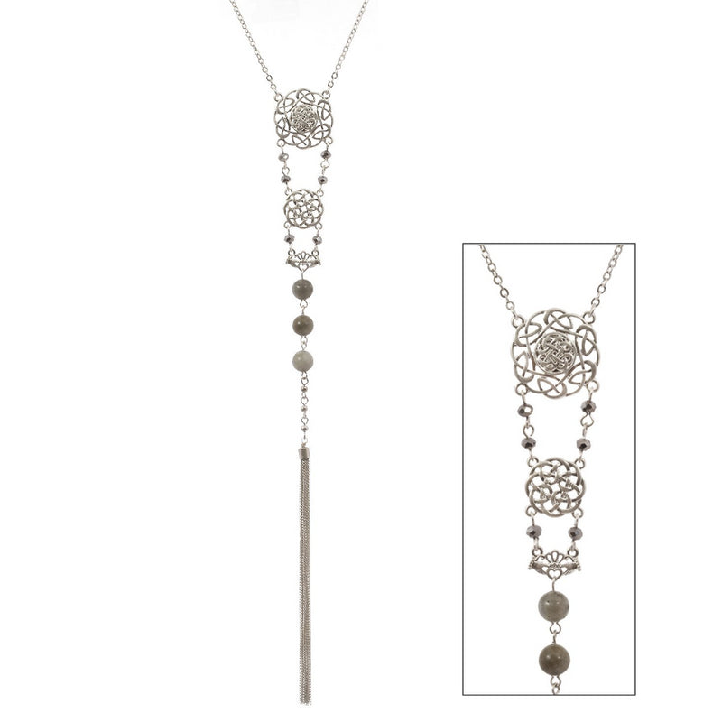 Semi Precious Stone Beads and Tassel Celtic Silvertone Necklace - Labradorite