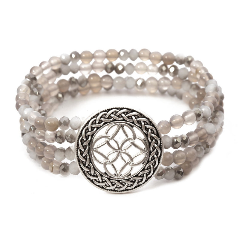 Multi Layered Stone Celtic Bracelet - Grey Jade