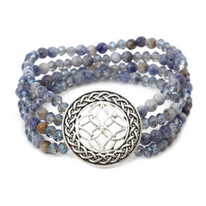 Multi Layered Stone Celtic Bracelet - Sodalite