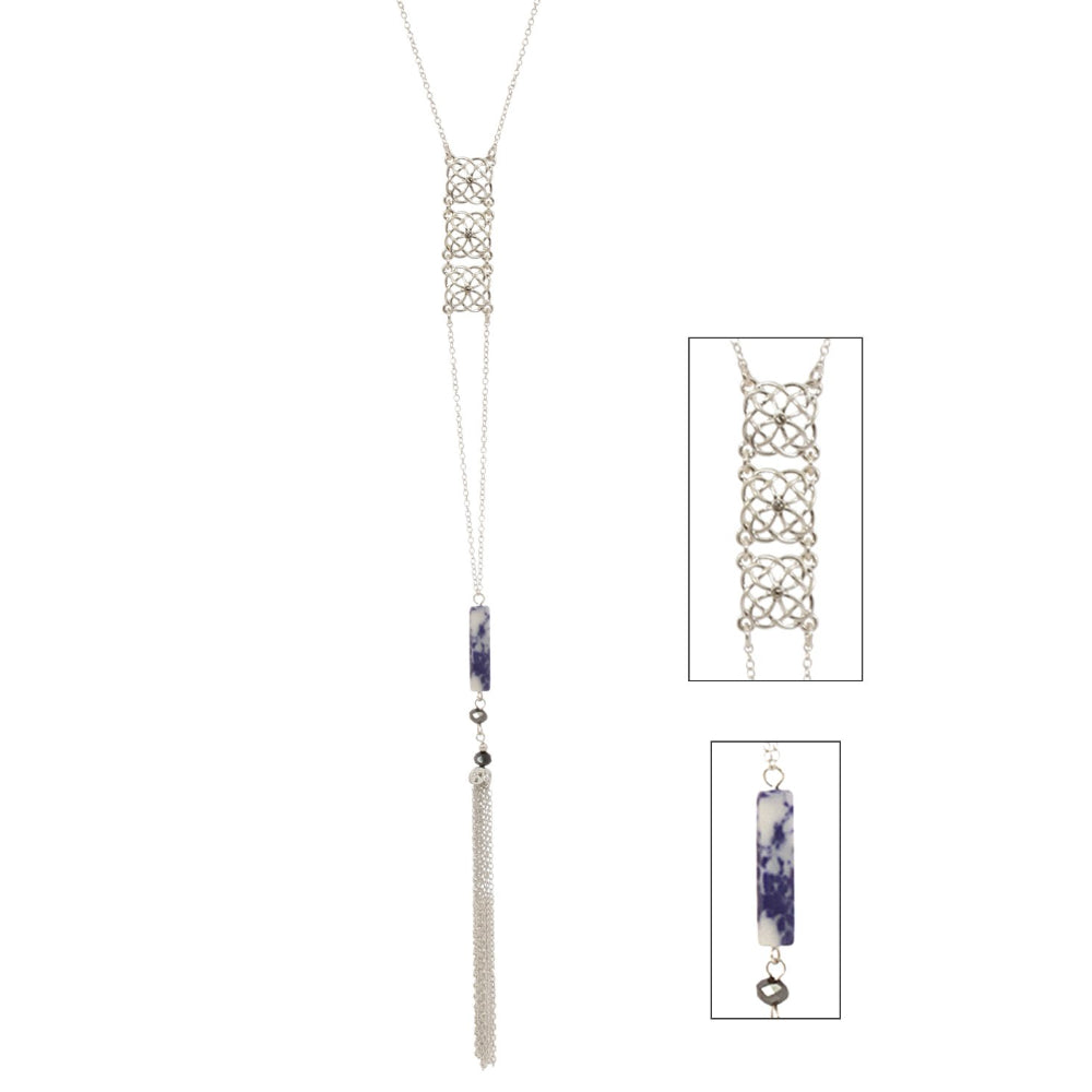 Sodalite Stone Bar and Tassel Celtic Necklace Silvertone