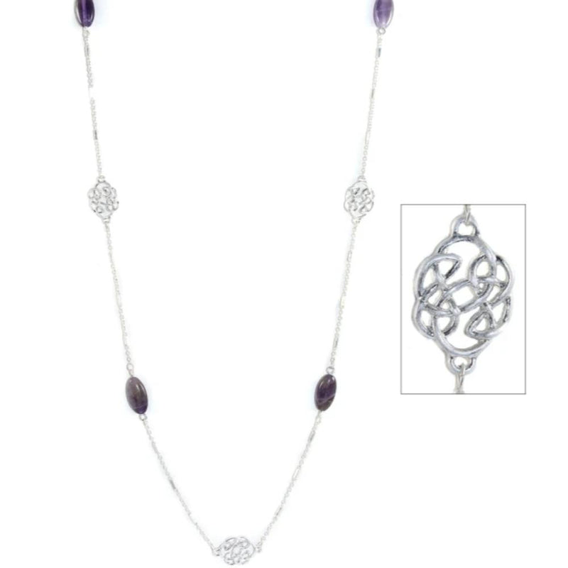 Long & Lovely Semi Precious Stone Necklace - Amethyst