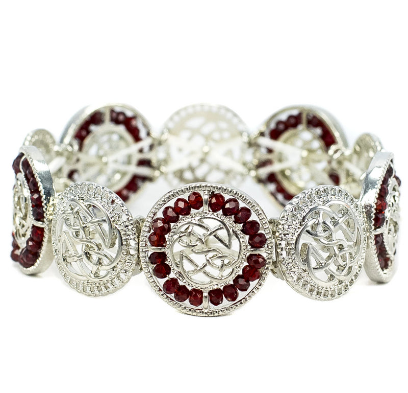 Alternating Beaded Celtic Stretch Bracelet - Burgundy