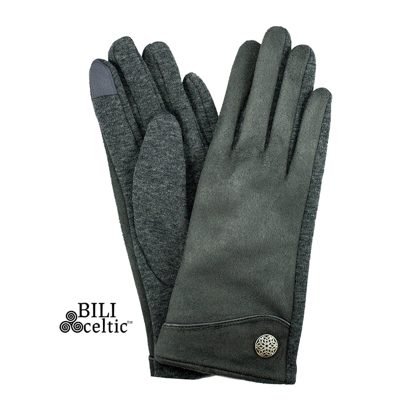 Celtic Faux Suede Gloves - Charcoal