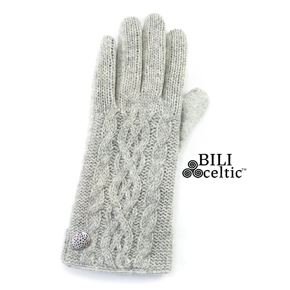 Celtic Cable Knit Gloves - Light Grey
