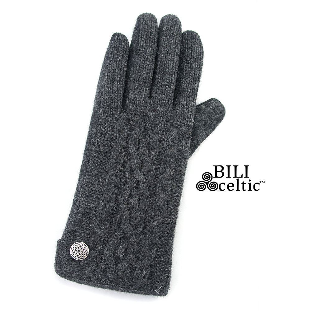 Celtic Cable Knit Gloves - Charcoal