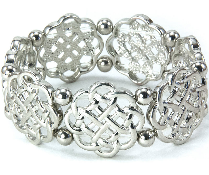 Celtic Knot Stretch Bracelet with Round Beads Silvertone