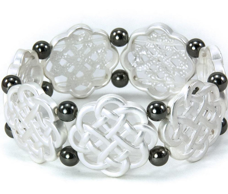 Celtic Knot Stretch Bracelet with Round Black Beads