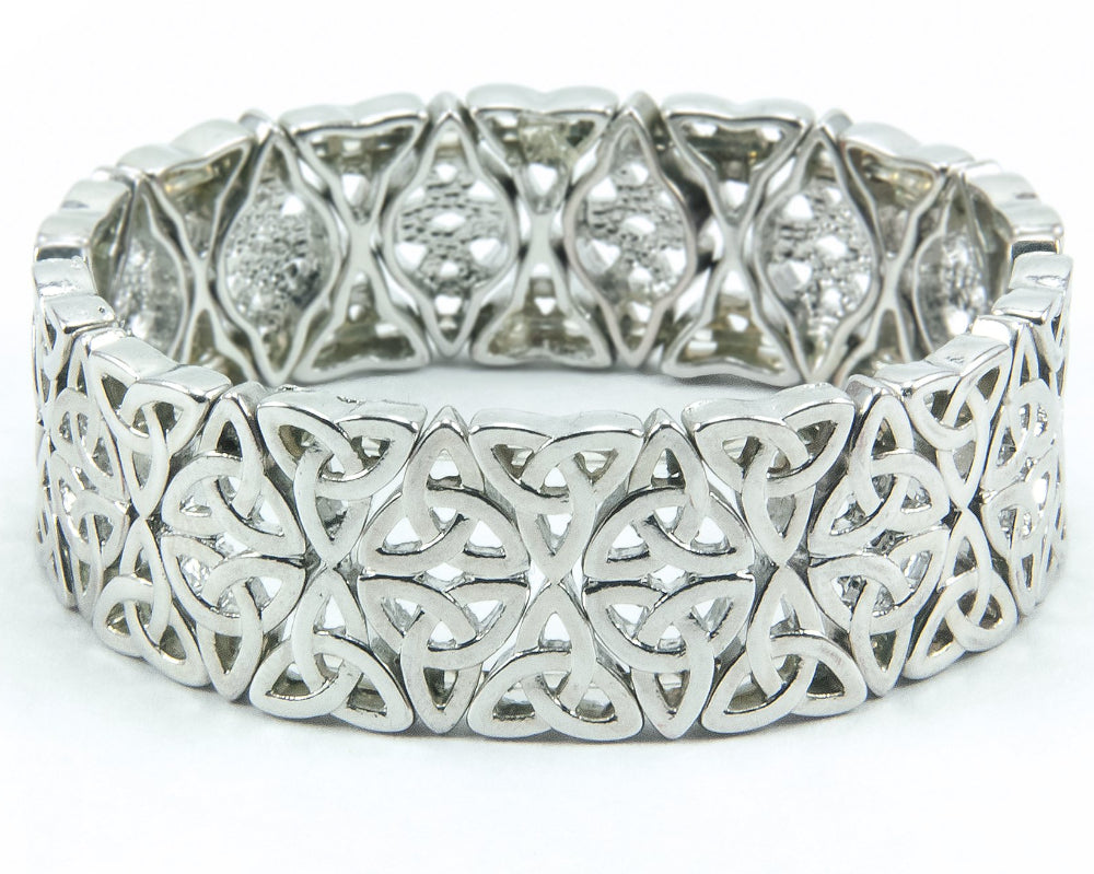 Double-Row Celtic Trinity Knot Stretch Bracelet Silvertone