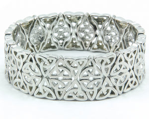 Double-Row Celtic Trinity Knot Stretch Bracelet - Silvertone