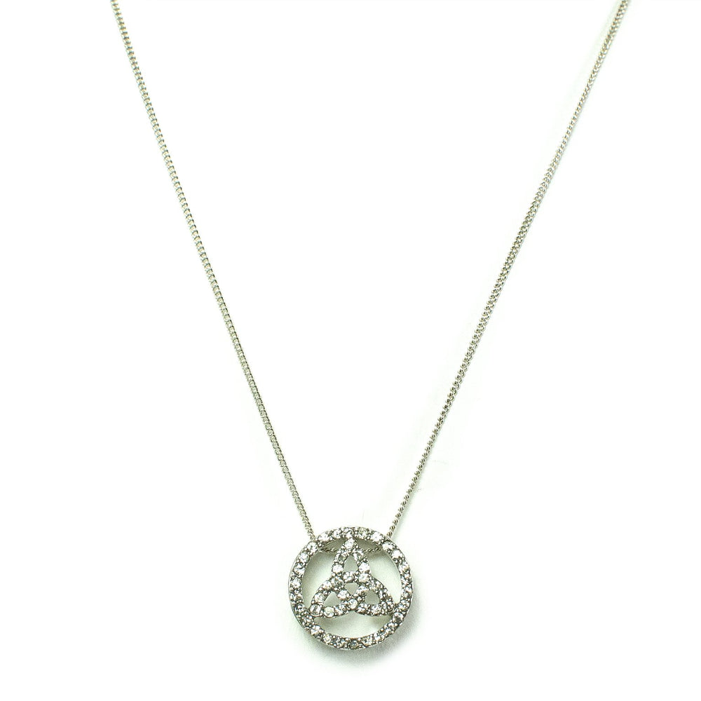 Circle Celtic Trinity Knot Rhinestone Necklace