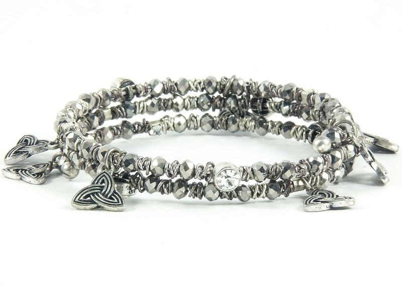 Crystal Trinity Wrap Bracelet - Smoky Grey