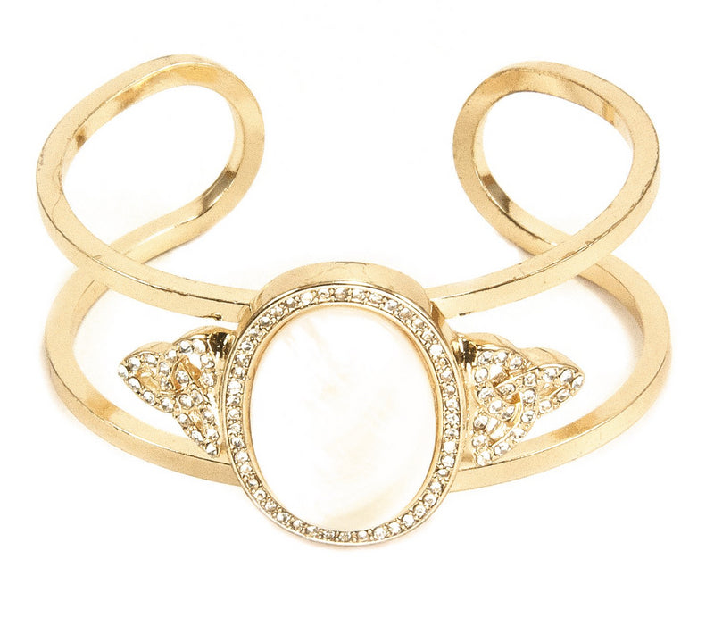 Mother of Pearl Open Cuff Bracelet - Goldtone
