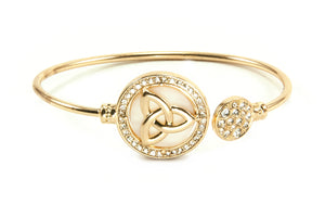 Trinity Medallion Open-End Bangle - Goldtone
