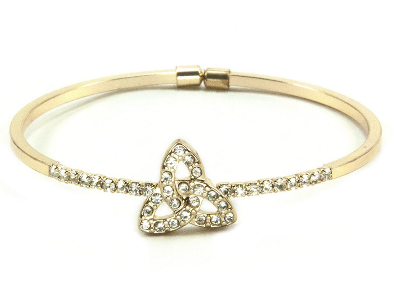 Floating Trinity Knot Open-End Bangle - Goldtone