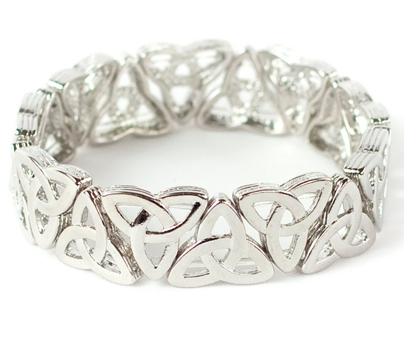 Petite Celtic Trinity Knot Stretch Bracelet - Polished Silvertone