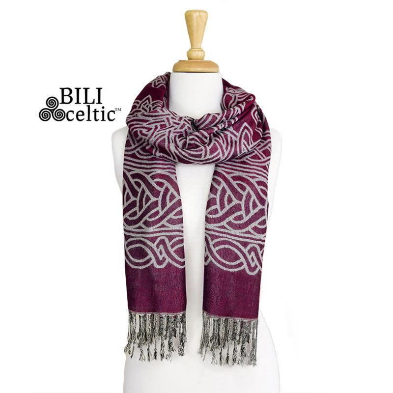 Frances Celtic Knot Pashmina Scarf - Burgundy/Light Grey