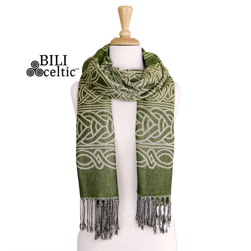 Frances Celtic Knot Pashmina Scarf - Light Green
