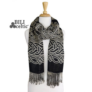 Frances Celtic Knot Pashmina Scarf - Black/Tan
