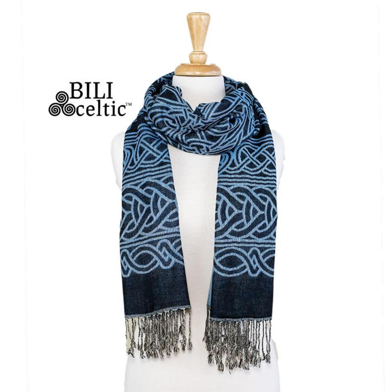 Frances Celtic Knot Pashmina Scarf - Black/Light Blue