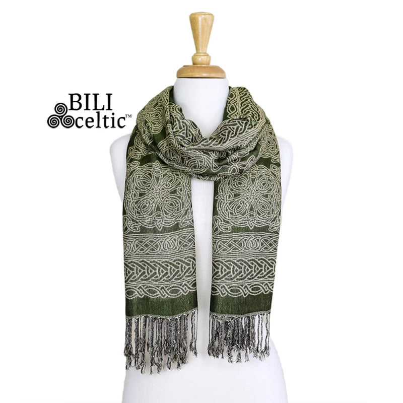 Noreen Celtic Knot Pashmina Scarf - Dark Green