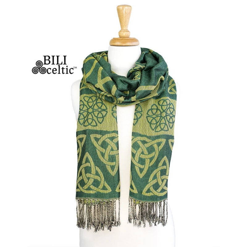 Anne Trinity Celtic Knot Pashmina Scarf - Kelly/Lime