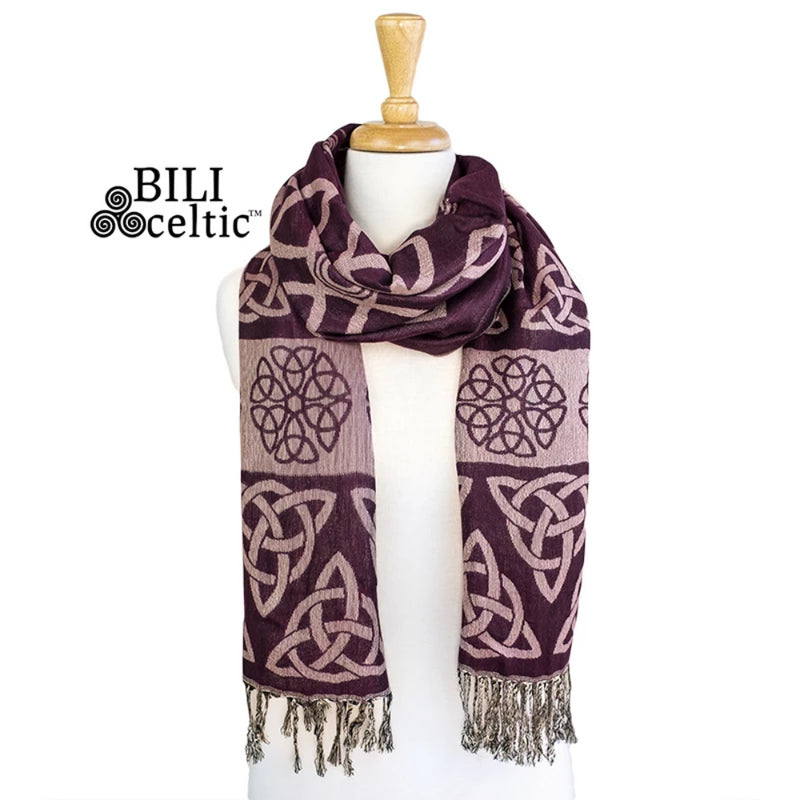 Anne Trinity Celtic Knot Pashmina Scarf - Maroon/Rose