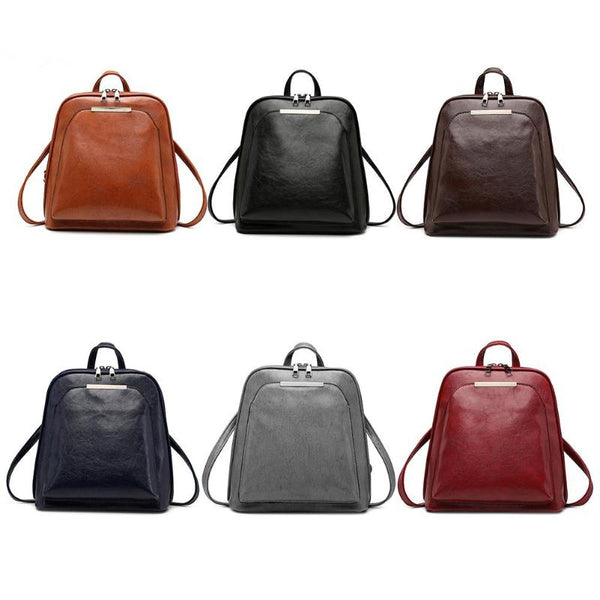 Vintage Leather Mini Backpack for Women