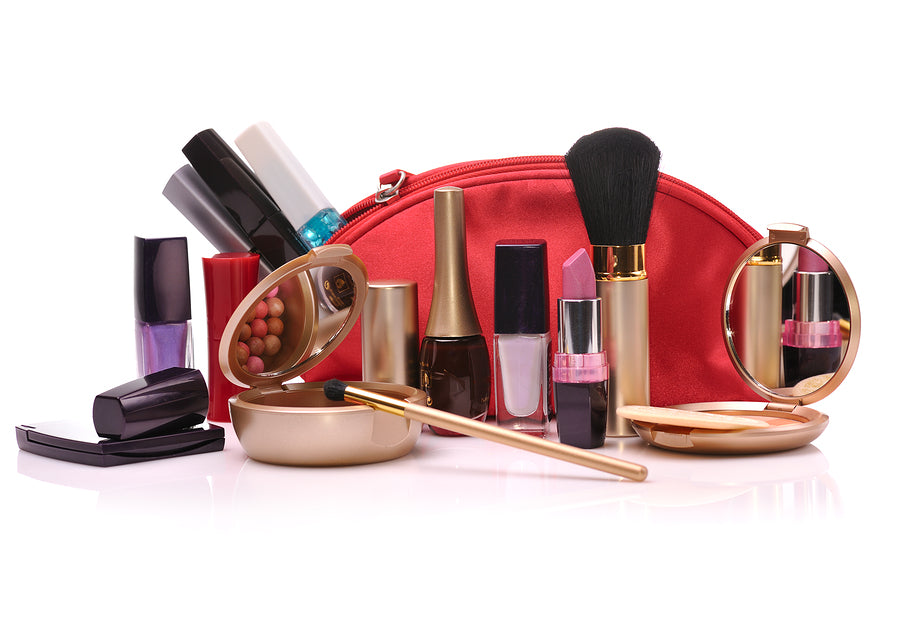 Cosmetic bag with a lot of cosmetics