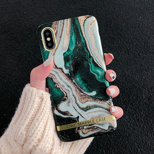 Fashion Marble Gold Glossy Soft Silicone Case for ALL iPhone Models