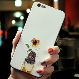 Sunflower Girl 3D Soft Silicone Phone Case for All iPhone Models