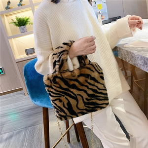 Fashion Faux Fur Chain Shoulder Bag