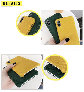 Corduroy Phone Case For iPhone - Green